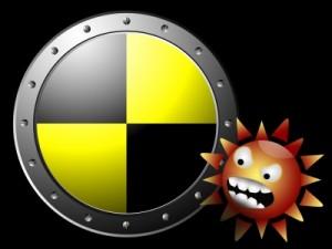 Anti-Malware symbol with malware image alongside it