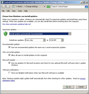 Windows 7 control panel applet for automatic updates